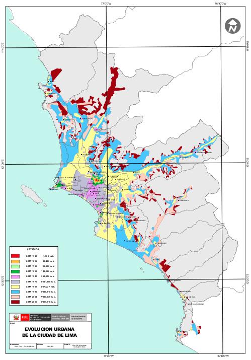 Imagen: Mapa de crecimiento urbano de Lima Metropolitana.