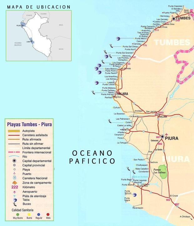 Imagen: Mapa de la playas ubicadas en el litoral norte peruano.
