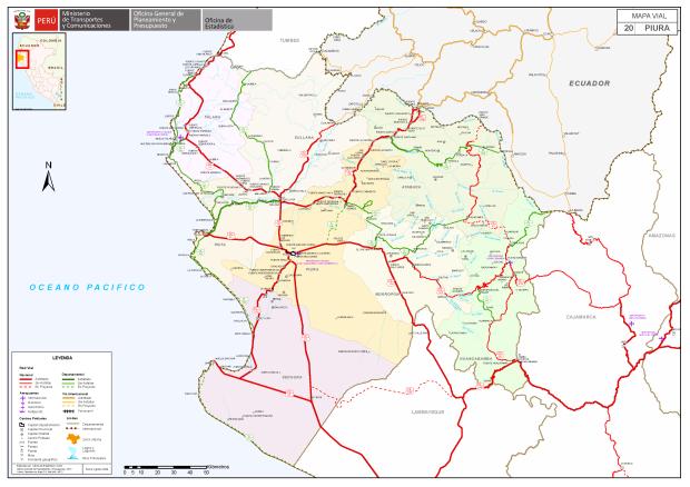 Imagen: Mapa vial del departamento de Piura.